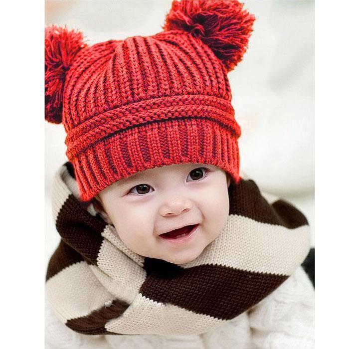 Estimetown®Mignon bébé enfants fille garçon Dual boules chaud hiver tricoté  Casquette chapeau bonnet Rouge WTX1001140 b4e081e0962