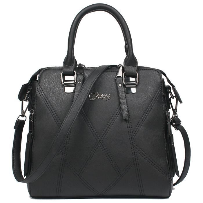 Sacs à bandoulière en cuir Top Handle Sacs à main de luxe pour dames bourse épissé Zipper KXRVU