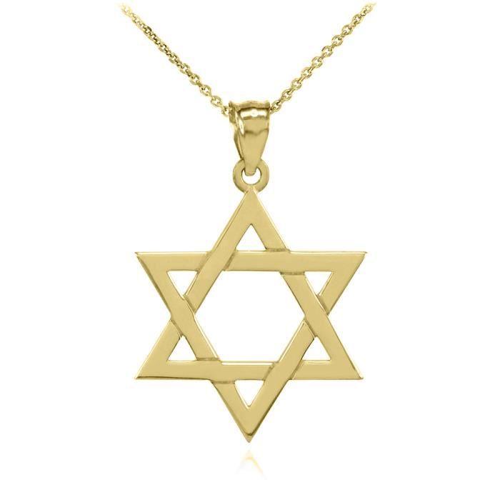 Collier Femme Pendentif 14 Ct Or Jaune Juif Étoile De David Charme (Petit) (Livré avec une 45cm Chaîne)