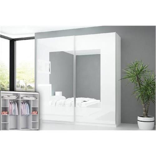 armoire 2 portes coulissante l 250 cm modele lina - achat / vente