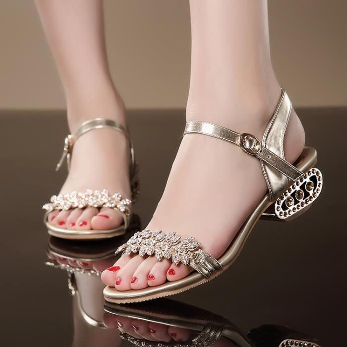 Nouvelles or famme strass bohème épaisses sandales à talons bas