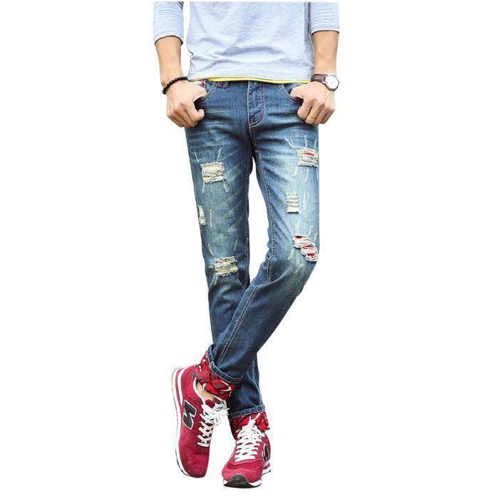 pantalon homme en jean trou slim avec poches zipp e bleu bleu achat vente jeans cdiscount. Black Bedroom Furniture Sets. Home Design Ideas