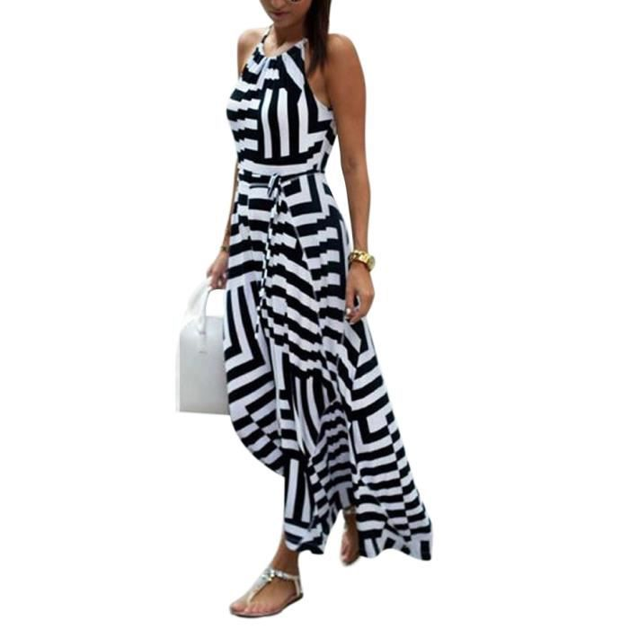 bd66b48747d78 Robe Longue femme sans manches à rayures Patchwork Maxi Noir Blanc ...