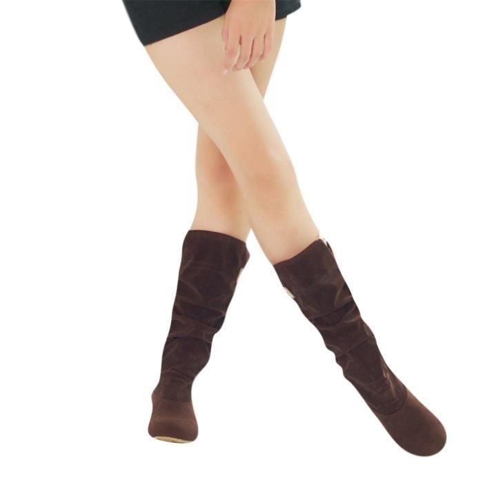 f2163619121 Bottes femme Mince Sexy sur le genou haute En Daim femme neige ...