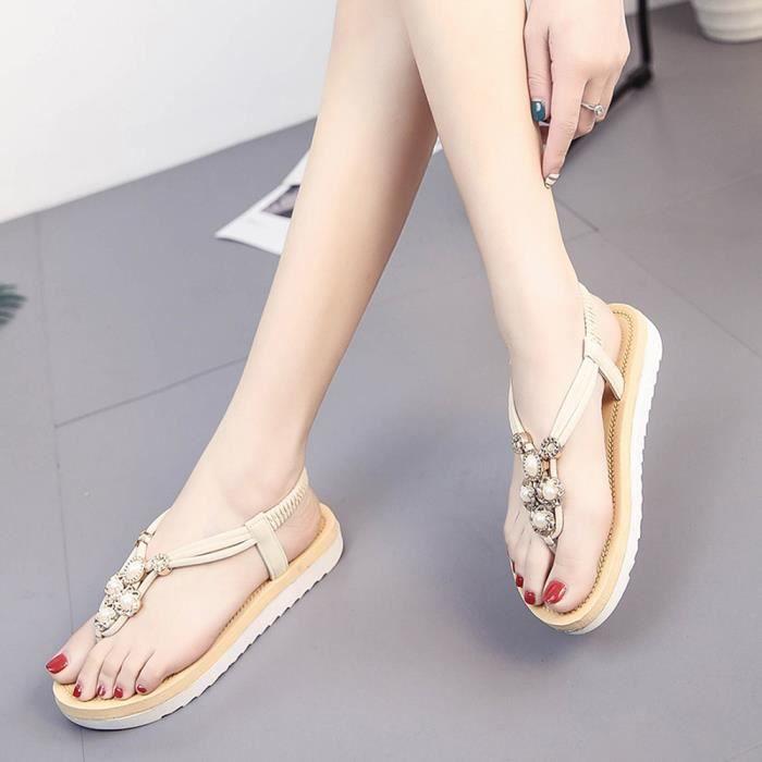 Sandales à semelles épaisses Summer Students Slip Flat Muffin Leisure Femmes Sandales Beigei jACooz9OS
