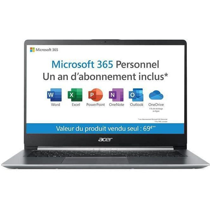 """ORDINATEUR PORTABLE PC Ultrabook - ACER Swift 1 SF114-32-P6M2 - 14"""" FH"""
