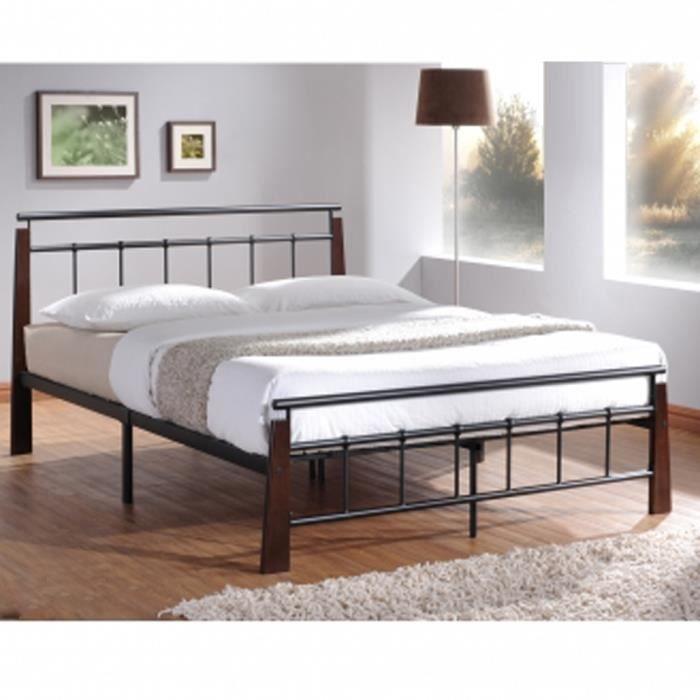 Lit Design en metal noir, pieds de lit en bois ... - Achat / Vente ...