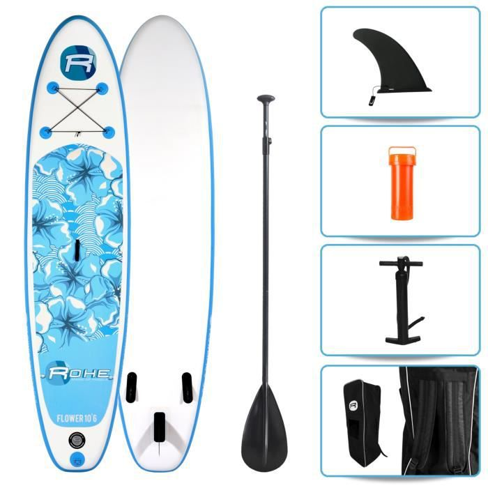 STAND UP PADDLE ROHE Pack Paddle Gonflable Flower - 320x76x15cm -