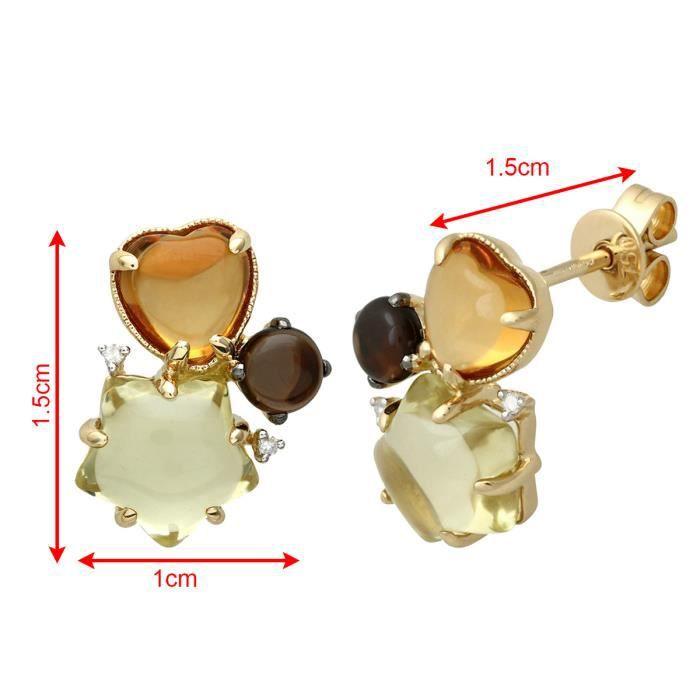 Revoni - Boucles doreilles clous en or jaune 18 carats, citrine et pierres précieuses jaune citron et fumées 6,4 carats