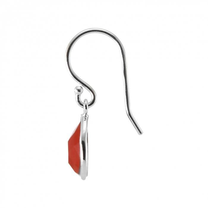 Boucles d oreilles Argent 925 Cornaline ref 44951 Rouge