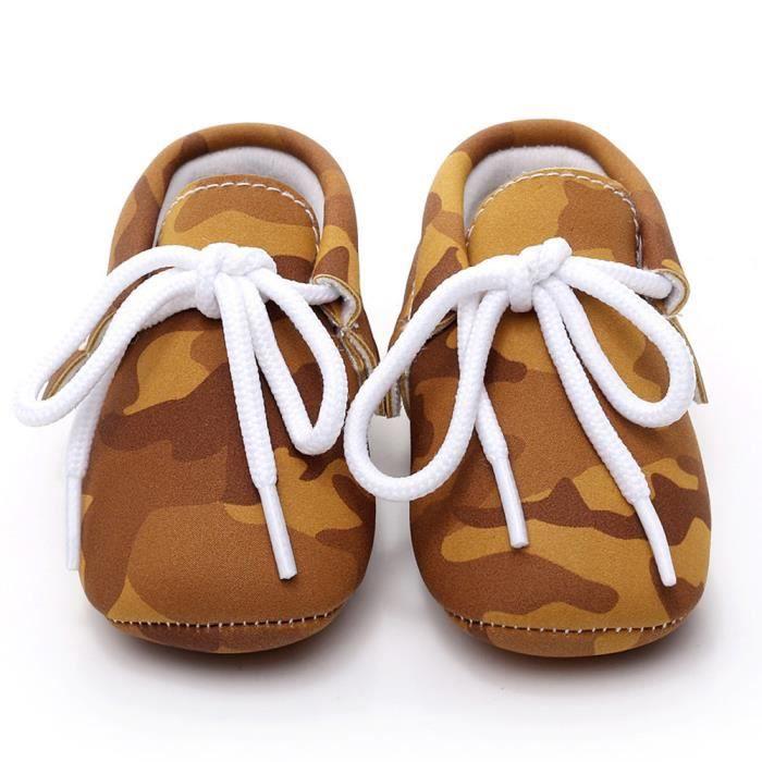 BOTTE Bébé Fille Garçons Camouflage Frenulum Mode Chaussures Sneaker Anti-dérapant Chaussures Douces@Jaune