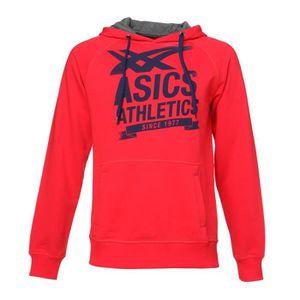 ASICS Sweat ? capuche Homme - Rouge et noir