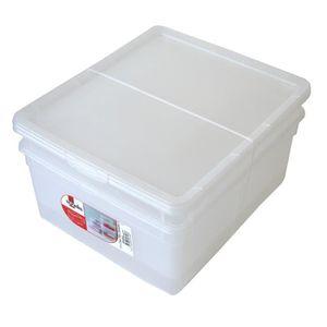 SUNDIS Lot de 2 boîtes de rangement Clear Box 18L 40x33,5x22 cm blanc