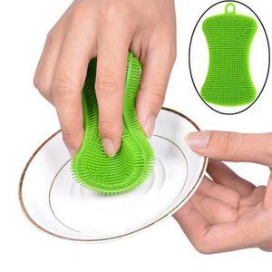 ÉPONGE VAISSELLE Deuxsuns®1pc Silicone Dish lavage éponge éponge cu