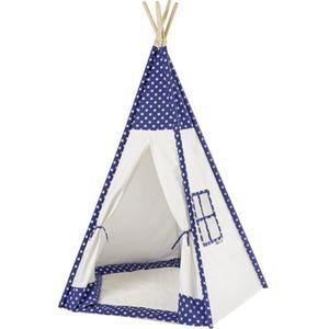 TENTE TUNNEL D'ACTIVITÉ howa - Tente enfant tipi blanc / bleu avec tapis 8