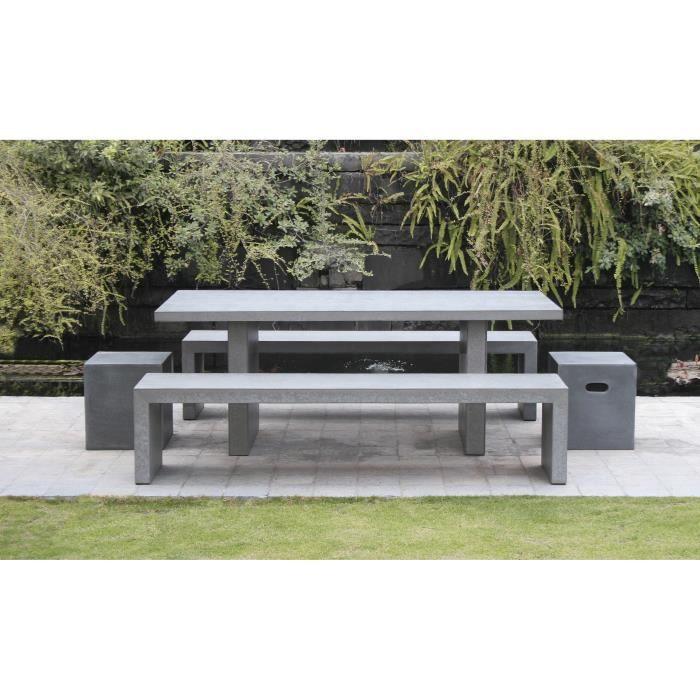 Ensemble table rectangulaire en fibre de ciment  avec 2 bancs - 200 x 90 x 75 cm