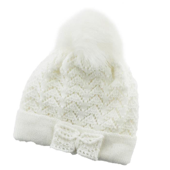 fcd4aaa53ad Bonnet à Pompon Tricoté pour Bébé Fille - 6 à 12 mois Blanc - Achat ...