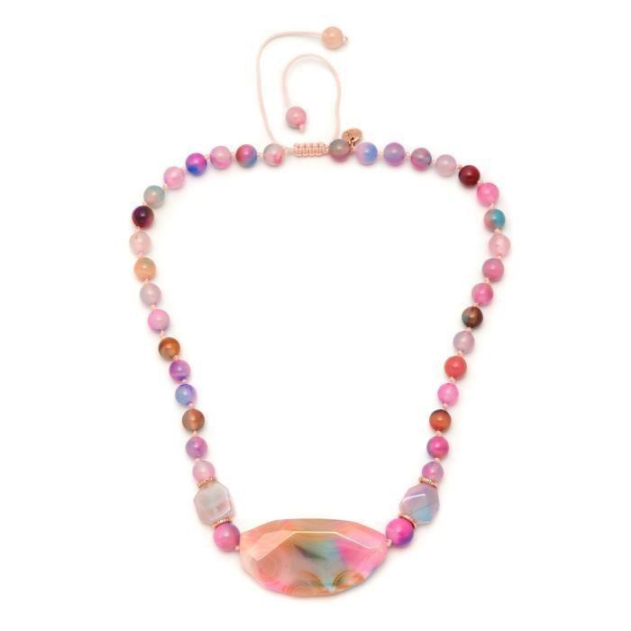 Vintage Botanics Floss Mont Agate bonbons court pendentif sur un collier de chaîneZ8P0R