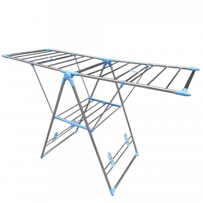 sechoir ou etendoir a linge pliable structure en acier inoxydable o 18 mm etendage inte rieur. Black Bedroom Furniture Sets. Home Design Ideas