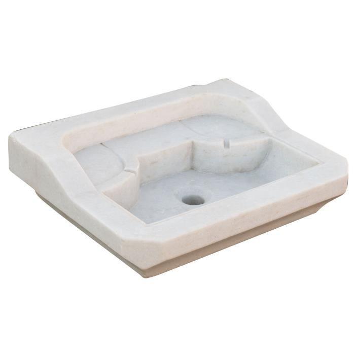Lavabo En Marbre Blanc L51xpr41xh15 Cm Achat Vente Evier De