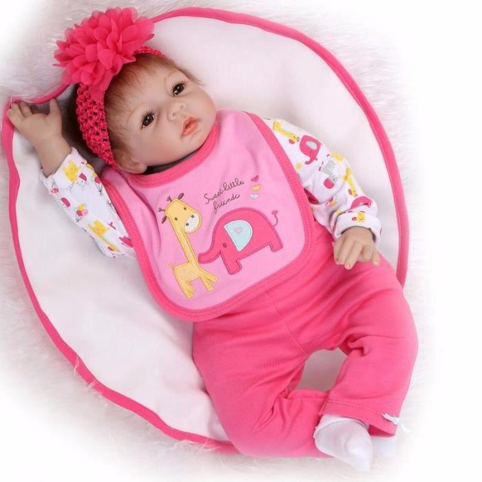 4c512e8292a29 22 polegada 55 cm Silicone reborn poupées bébés contact réel souple bébé de  couchage poupées pour les filles cadeau d anniversaire b