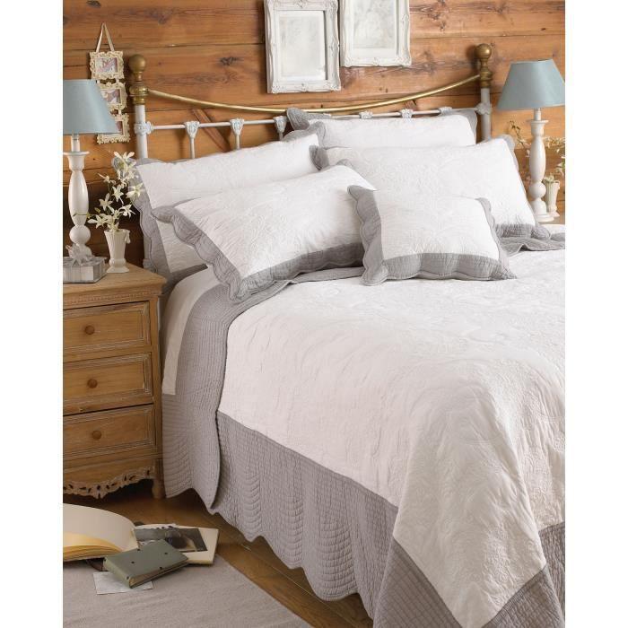 couvre lit blanc et gris Riva Home Fayence   Couvre lit Mixte   Blanc/Gris   195 x 260 cm  couvre lit blanc et gris