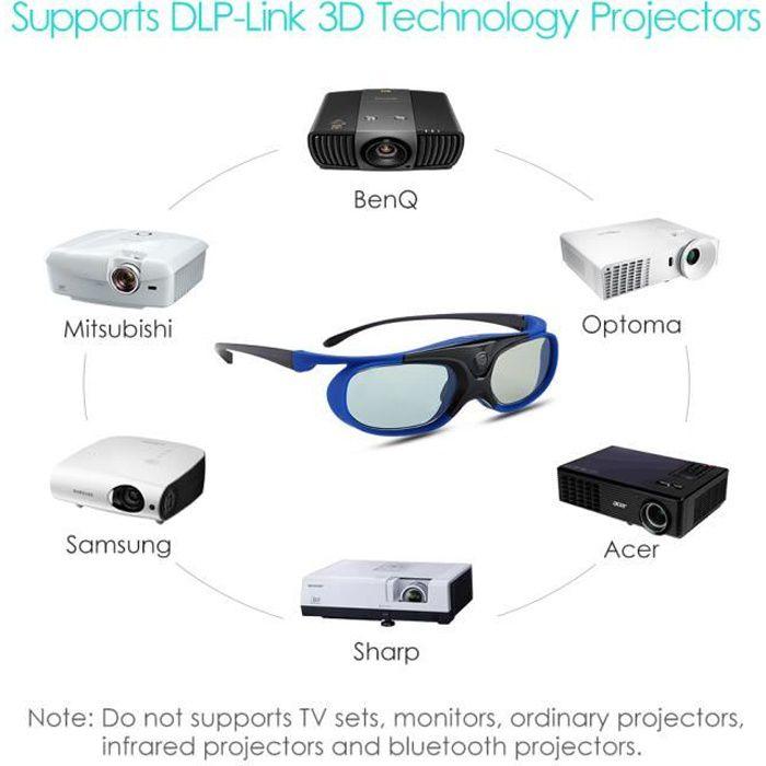 26b4017a04 BOBLOV 2*Lunettes 3D actives DLP Pour Optoma BenQ Projecteur Acer Viewsonic  XGIMI 3DTV