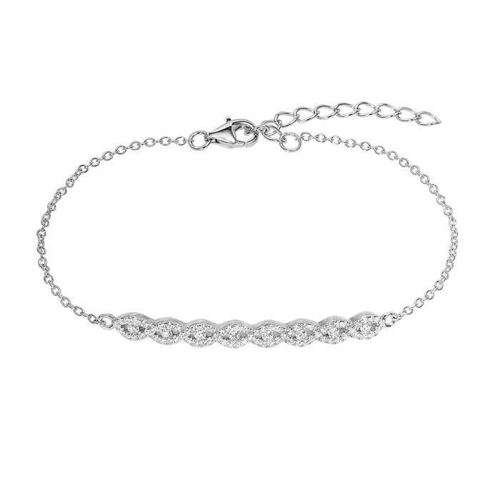 Bracelet CLEOR Argent 925/1000 Oxyde - Z0146726 23 cm Argenté