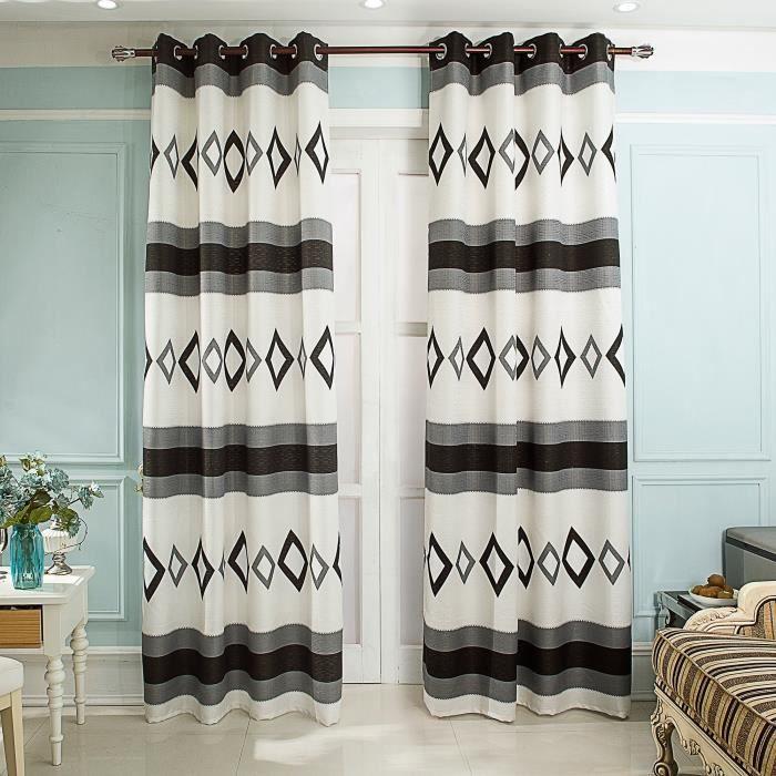 double rideaux noir et blanc achat vente pas cher. Black Bedroom Furniture Sets. Home Design Ideas