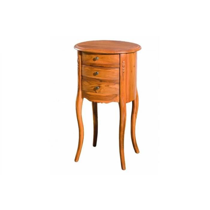chevet rond 3 tiroirs style colonial en teck massif - achat / vente