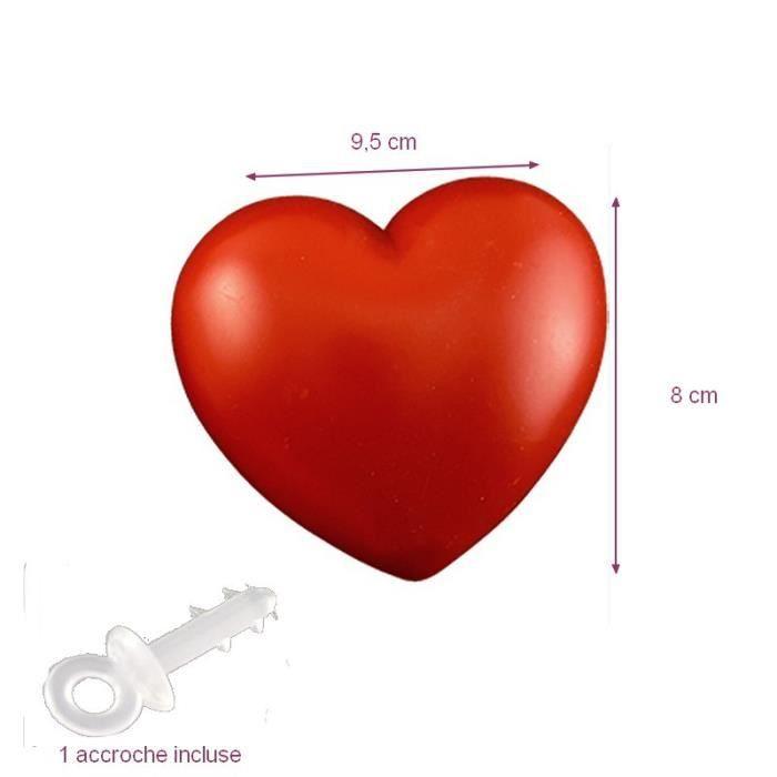 C ur rouge en plastique non s parable 9 5 x 8 cm avec - Decoration coeur rouge ...