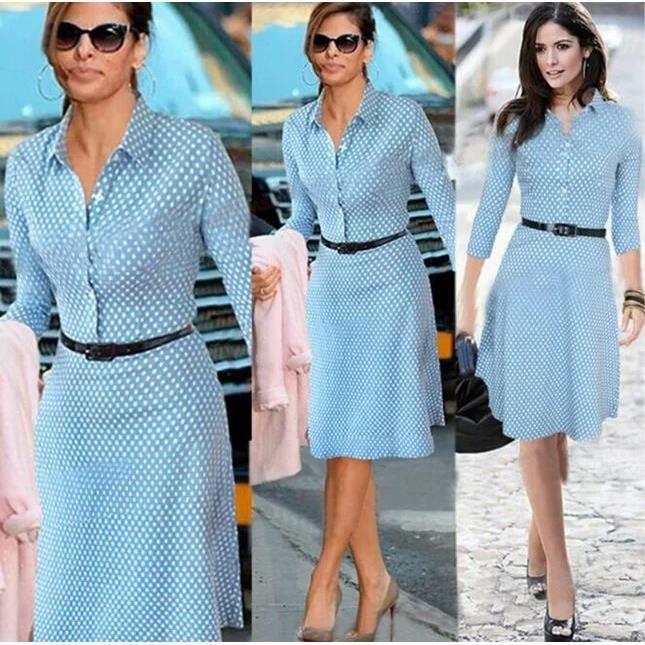 Europ en bureau robe femme dot imprim milieu longue tournez col bleu robe d 39 t grande taille - Vetement de bureau pour femme ...