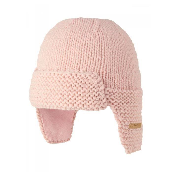 BARTS - Bonnet naissance en maille rose tendre bébé fille du 3 au 12 mois  Barts 1b51617e047