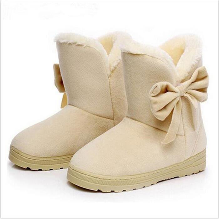 Femmes bottes papillon Doux Plat bottes De plus velours chaussure mode chaud occasionnels belles bottes d hiver xFL6OTF
