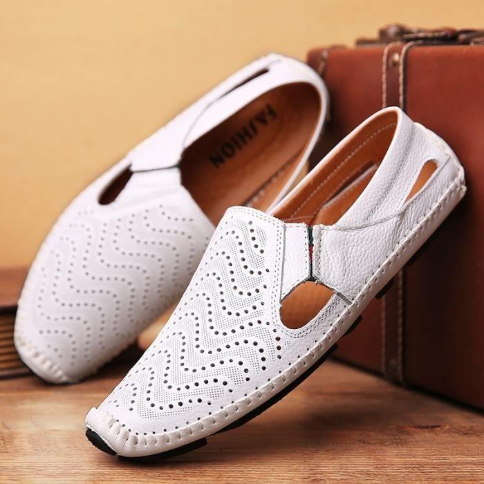 Hommes d'été en cuir véritable Chaussures Chaussures de conduite Casual cuir mocassin souple respirant hommes Flats Chaussures de oGKD9Bxg1m