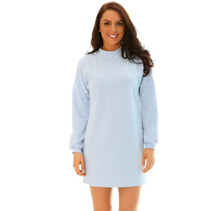 Miss Wear Line - Petite robe sweet bleu ciel épaules et manches perlées