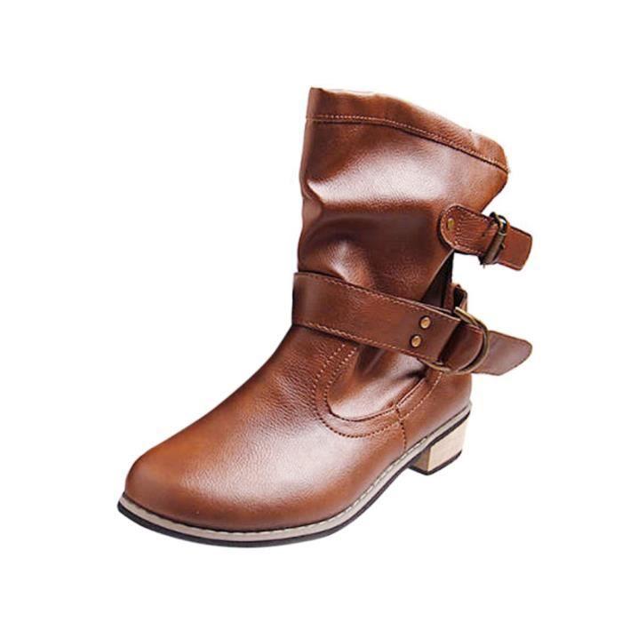 Nouvelles Talons Casual De Femmes les Amyamyi Pour Wong2269 Bas À Plates Boucle Chaussures Martin Bottines Bottes w7FFq