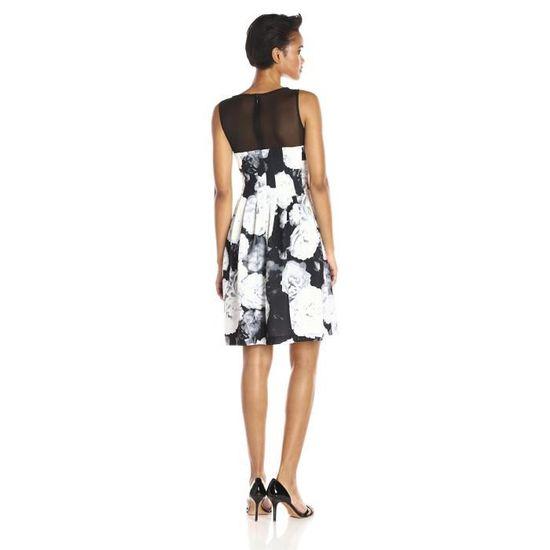 Calvin Klein Robe imprimée florale sans manches et évasée pour femmes FRH1E  Noir Noir - Achat   Vente robe - Soldes  dès le 9 janvier ! Cdiscount bb8553efb3f