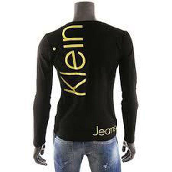 d0befbfb003be T-Shirt Calvin Klein Jeans Homme Manche Longue NOIR - Achat   Vente t-shirt  - Cdiscount
