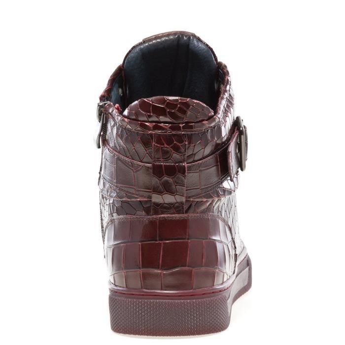 Sullivan bout rond hommes peint à la main en cuir à lacets glissière intérieure et bracelet haut-top Sneaker E5L5S Taille-41