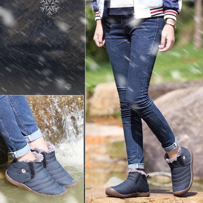 Femmes hommes bottes de neige en plein air hiver chaud Slip-on Short Boot fausse fourrure doublée chaussures