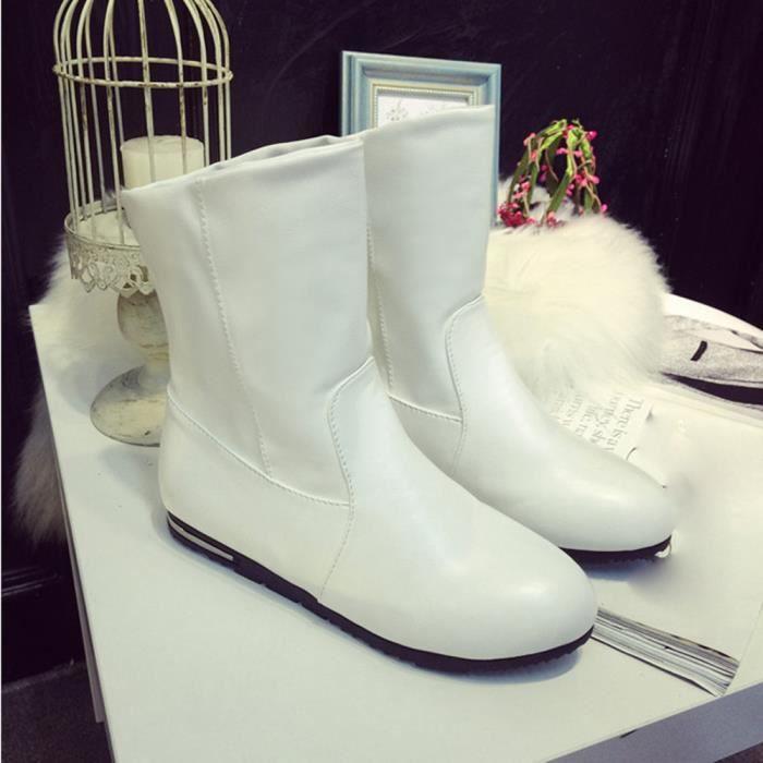 automne 4482 Mode Talons Femmes mollet Mi Chaussures Neige Demi Flats D'hiver Bottes De H8HwqTa