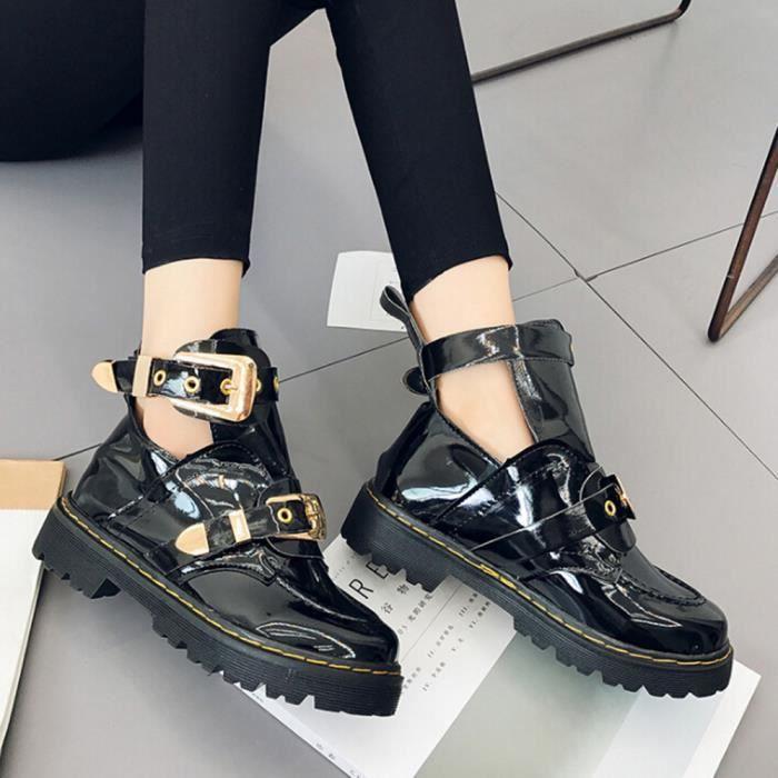 Bottes Cuir Respirantes Chaussures Noir Dames Pour En Verni Côté Martin Métal Boucle TEIwvx
