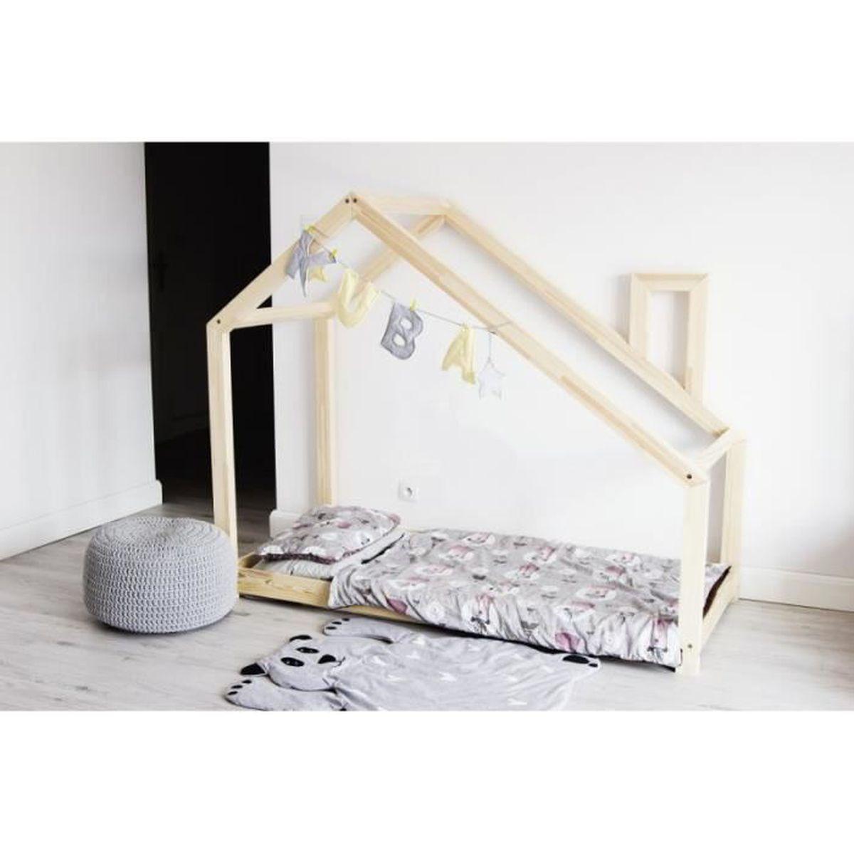 lit cabane bois massif sommier 80x180 achat vente structure de lit lit cabane bois massif. Black Bedroom Furniture Sets. Home Design Ideas