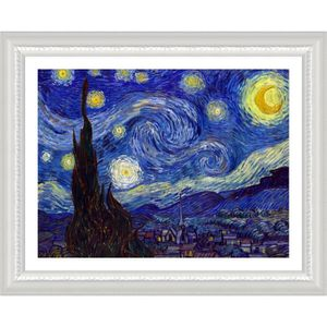 TABLEAU - TOILE Starry Night Vincent Van Gogh White POSTER ENMAILL