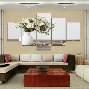 TABLEAU - TOILE Nordic 5 pièces Modern Chinese Abstract Flowers Pe