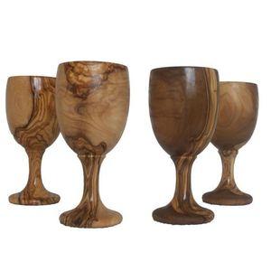 Coupe à Champagne verre à vin : 4 verres à vin en bois d'olivier nat