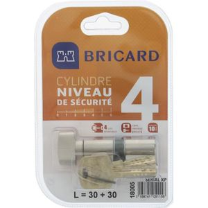 SERRURE - BARILLET BRICARD SERIAL XP 18004 Cylindre 30+30 mm à bouton