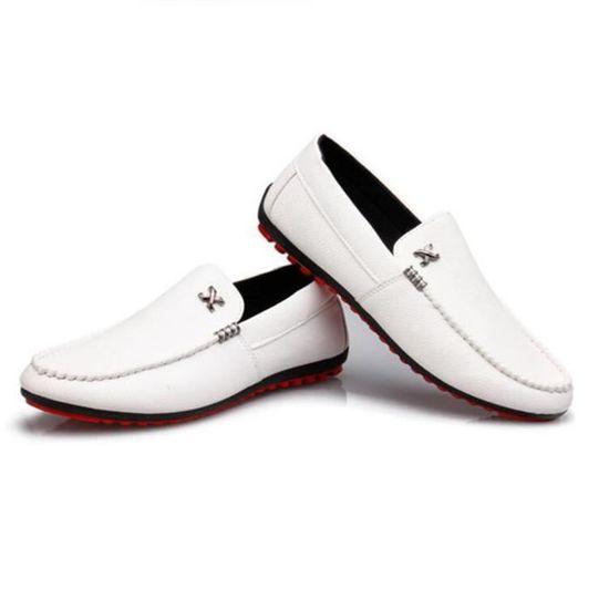 Chaussures homme Confortable Nouvelle arrivee De Marque De Luxe Moccasin Grande Taille hommes Haut qualité 2017 cuir Blanc Blanc - Achat / Vente basket