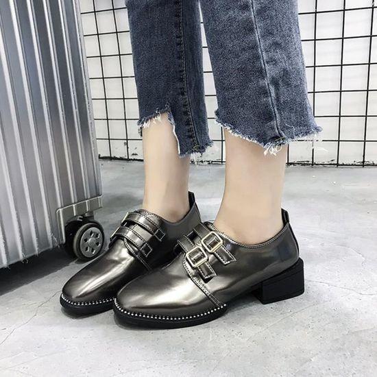 Mode féminine bout carré Slip-on Bottes plates Casual vernies Martin Chaussures @11 Gris foncé  Gris foncé - Achat / Vente slip-on